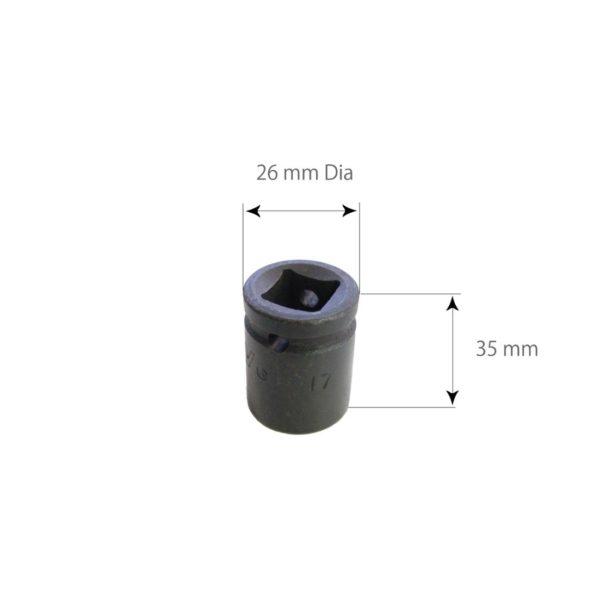 SARV Hex 17mm socket for Wheel Nut Extraction