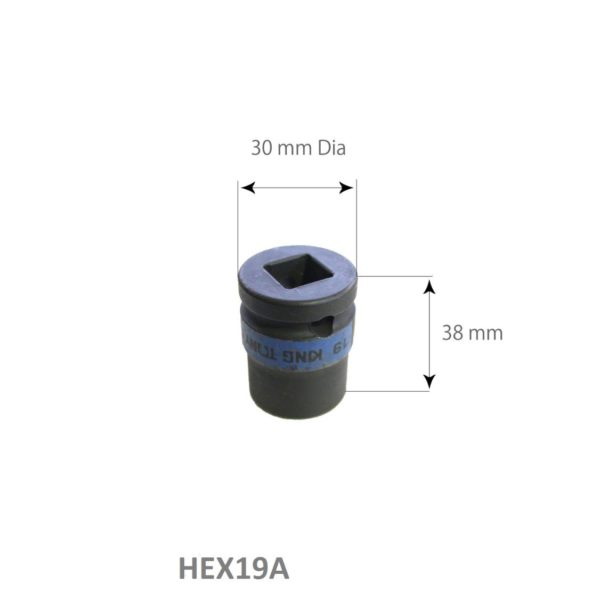 SARV Hex 19mm socket for Wheel Nut Extraction