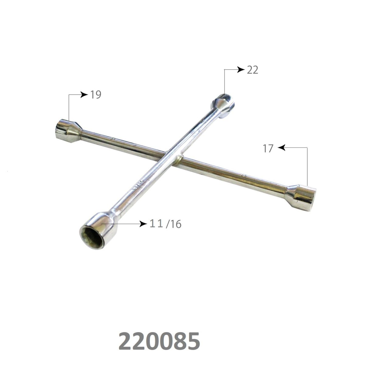 SARV Universal 4 way Cross Hex ,Wheel Nut Wrench 17mm X19mmx22mm x11/16″ , Combination mm & SAE lug wrench