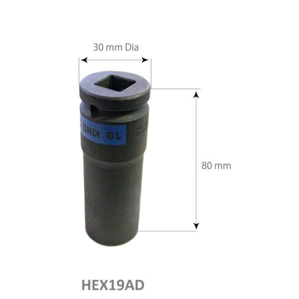 SARV Hex 19mm Deep Impact socket for Wheel Nut Extraction